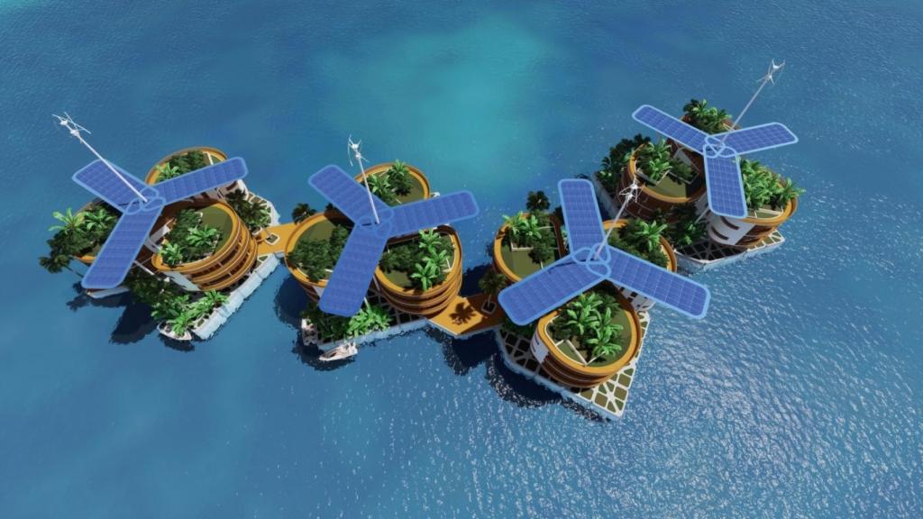 Úszó város zöld felületekkel